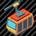 cabin, cable car, gondola, isometric, ropeway, transportation, vacation icon