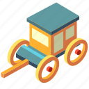 carriage, cart, chariot, isometric, transport, transportation icon