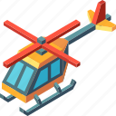 aircraft, copter, helicopter, isometric, transport, transportation, vehicle icon