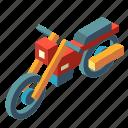 bike, isometric, motocross, motorbike, motorcycle, transport, transportation icon