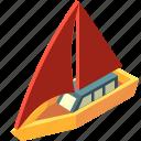 boat, cruise, isometric, sailboat, transport, transportation, yacht icon