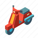 delivery, isometric, motorcycle, scooter, transport, transportation, vehicle