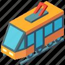 isometric, public, railway, train, tram, transport, transportation icon