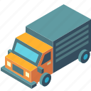 delivery, isometric, lorry, transport, transportation, truck, vehicle
