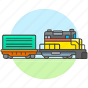 2, diesel, engine, railroad, railway, track, train, transport, transportation icon