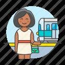 1, female, passenger, railroad, railway, station, track, train, transportation, travel icon