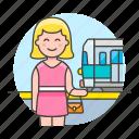 2, female, passenger, railroad, railway, station, track, train, transportation, travel icon