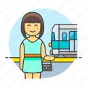3, female, passenger, railroad, railway, station, track, train, transportation, travel icon