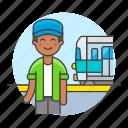 male, passenger, railroad, railway, station, track, train, transportation, travel icon