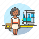 1, bench, female, passenger, railway, station, track, train, transportation, travel, waiting icon