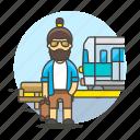 bench, male, passenger, railway, station, track, train, transportation, travel, waiting icon