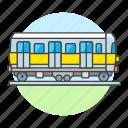 carriage, land, railroad, railway, track, train, tram, transport, transportation, wagon