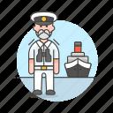 1, captain, ferry, fluvial, male, maritime, ship, transportation, vessel, waterborne, watercraft icon