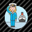 2, captain, female, ferry, fluvial, maritime, ship, transportation, vessel, waterborne, watercraft icon