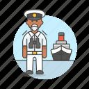 3, captain, ferry, fluvial, male, maritime, ship, transportation, vessel, waterborne, watercraft icon