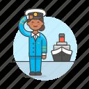 captain, female, ferry, fluvial, maritime, ship, transportation, vessel, waterborne, watercraft icon
