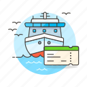 ferry, fluvial, maritime, sea, ship, ticket, transportation, vessel, waterborne, watercraft icon