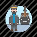 captain, haddock, headdock, marine, maritime, ship, transportation, vessel, waterborne, watercraft icon