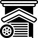 garage, motorcycle, parking, service icon