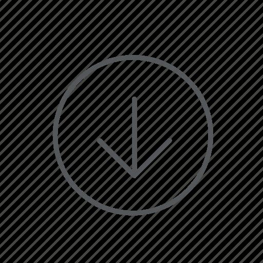 arrow, back, bottom, circle, direction, down, navigation icon
