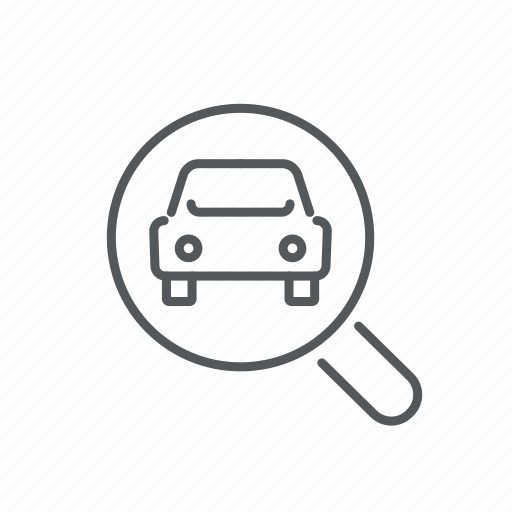 car, find, magnifying glass, search, transport, vehicle icon