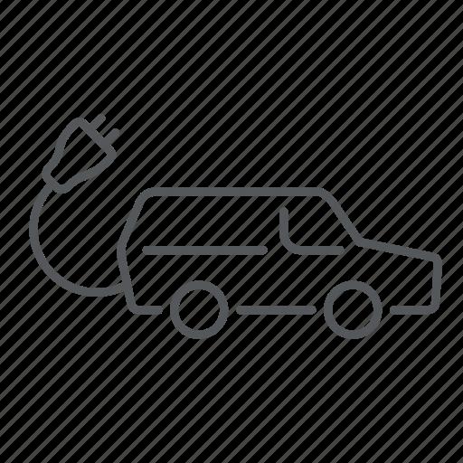 eco, ecology, electric car, hatchback, plug, transport, vehicle icon