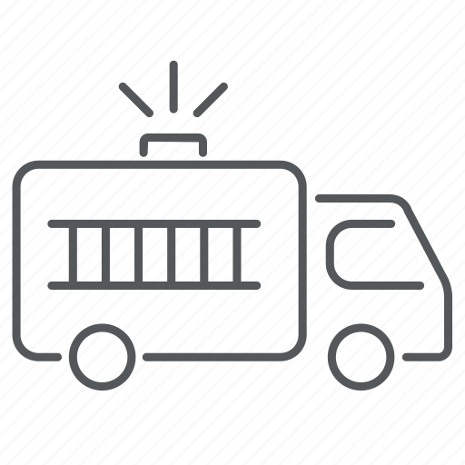 car, fire, firetruck, ledder, siren, truck, vehicle icon