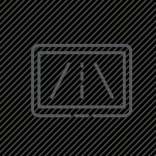 car, direction, display, monitor, navigation, road, screen icon