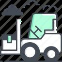logistic, bendi truck, forklift truck, warehouse, cargo icon