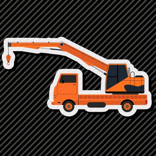 cargo, construction, crane, lorry, transportation, truck, vehicle icon
