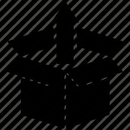 arrow, box, bundle, cargo, delivery, open box, package icon