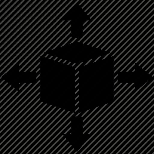 arrow, arrows, box, cargo, delivery, move, shipping icon