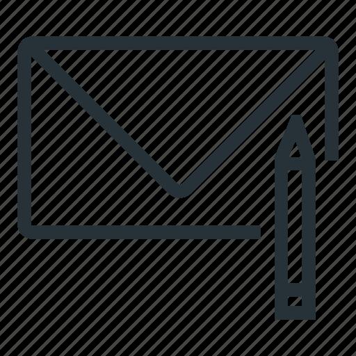 edit, inbox, mail, pen, write icon