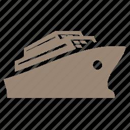 boat, ocean, sea, ship, shipping, transport, travel icon