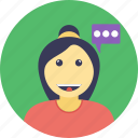 chat bubble, chatting, conversation, girl talking, profile avatar icon