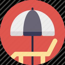 beach umbrella, deck chair, poolside, sunbathe, tanning icon