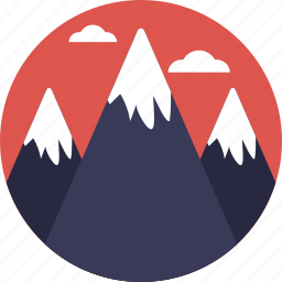 hills, landscape, mountains, nature, snowy peaks icon