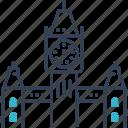 build, clock, lanmark, travel icon