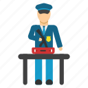 baggage, border control, check, customs officer, luggage, policeman, test icon