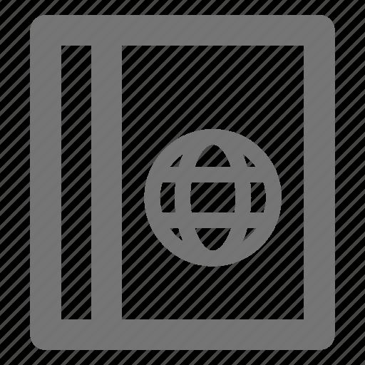 book, globe, passport icon