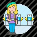 backpack, bagpacker, female, luggage, passenger, ticket, tourist, travel, travelers, trip, turnstile icon