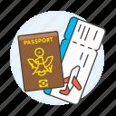 abroad, airplane, flight, international, journey, overseas, passport, ticket, travel, trip icon