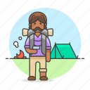 backpack, backpacker, bonfire, camp, hiker, hiking, journey, male, travel, travelers, trip icon