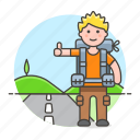 adventure, backpack, backpacker, hiking, hitchhike, hitchhiking, male, outdoor, road, travel, travelers icon
