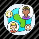 coworker, friend, international, landmarks, location, network, online, places, team, travel, user icon