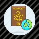 1, abroad, close, globe, international, journey, overseas, passport, travel, trip icon