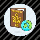 2, abroad, close, globe, international, journey, overseas, passport, travel, trip icon