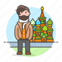 1, cathedral, holiday, journey, male, moscow, russia, tourist, travel, travelers, vacation icon