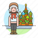 cathedral, female, holiday, journey, moscow, russia, tourist, travel, travelers, vacation icon