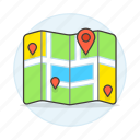 destination, direction, journey, location, map, my, on, pin, places, streets, travel, trip icon